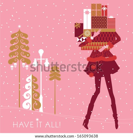 Beautiful, fashionable girl is shopping. Her hands are full of nicely wrapped Christmas gifts. Holidays concept. Vector EPS 10 illustration.  - stock vector
