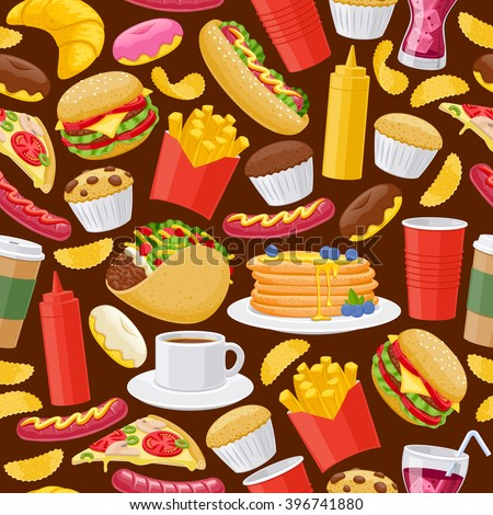 Beautiful  fast food icons seamless background. Cheeseburger pizza tea coffee cola chips pancakes donuts french fries hot dog taco muffin mustard ketchup vector illustration pattern.