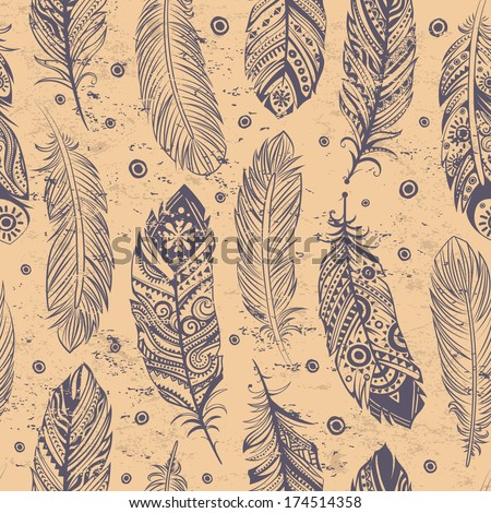 Beautiful Feather pattern seamless  - stock vector