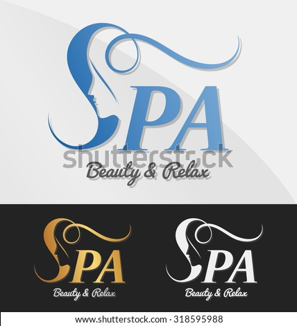 Beautiful female face in negative space on letter S logo design. Suitable for spa, massage, salon, cosmetic and beauty concept with letter s. Vector illustration - stock vector