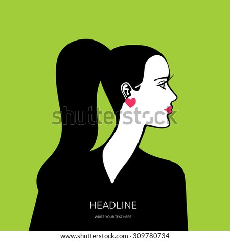 Beautiful female face in profile on green background (card, cover, poster, banner, label) - stock vector