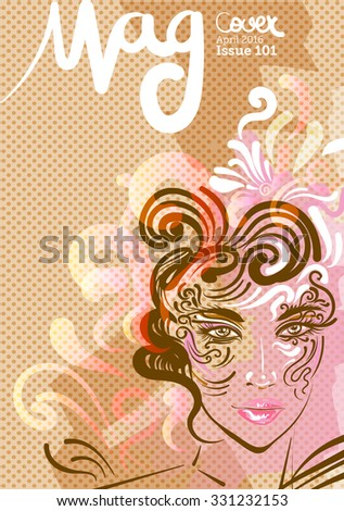 Beautiful female face, vector illustration