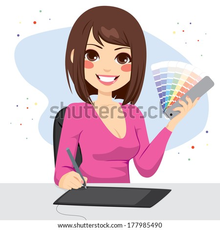 Beautiful female graphic designer showing pantone color chart palette - stock vector