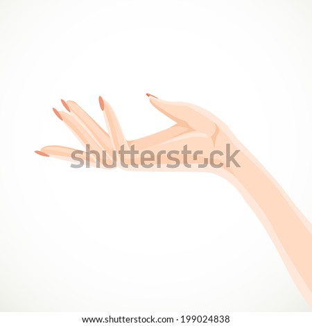 Beautiful female hand specifies by gesture aside isolated on a white background - stock vector