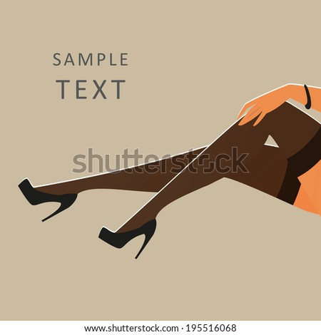 Beautiful female legs wearing stockings and black high-heeled shoes - vector illustration - horizontal position - stock vector