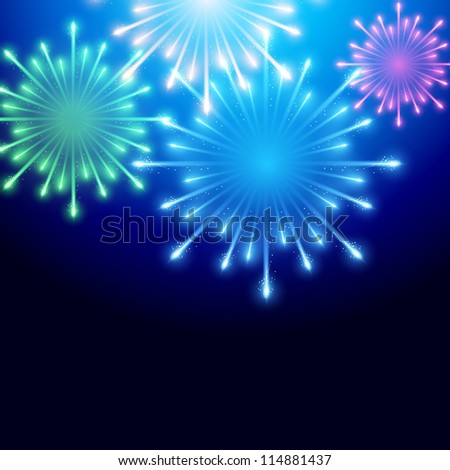 beautiful fireworks vector background illustration