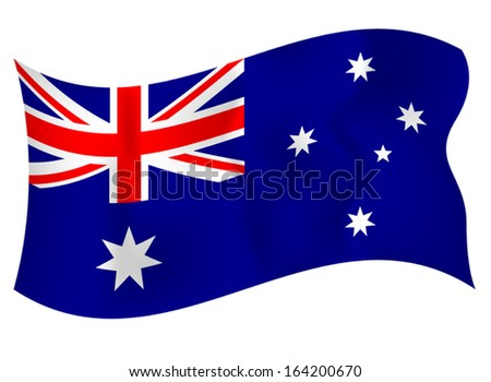 Beautiful flag of Australia waving on a white background