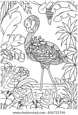 beautiful flamingo in summer time for coloring book pagebook cover and other design element - Flamingo Coloring Page
