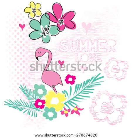 beautiful flamingo with flowers, T-shirt design vector illustration - stock vector