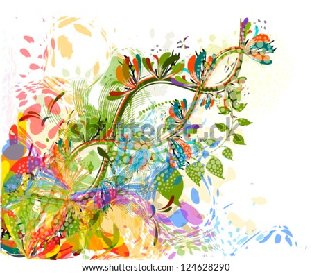 beautiful floral abstraction on white background - stock vector