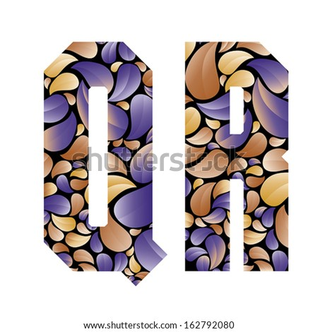 Beautiful floral alphabet, vintage style patterned flower petals geometric shaped letters, bold geometric poster condensed alphabet, vector letter q and letter r. Letter shapes designed specially. - stock vector