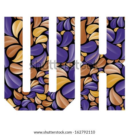 Beautiful floral alphabet, vintage style patterned flower petals geometric shaped letters, bold geometric poster condensed alphabet, vector letter w and letter x. Letter shapes designed specially. - stock vector