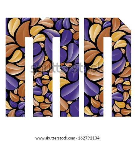 Beautiful floral alphabet, vintage style patterned flower petals geometric shaped letters, bold geometric poster condensed alphabet, vector letter m and letter n. Letter shapes designed specially. - stock vector