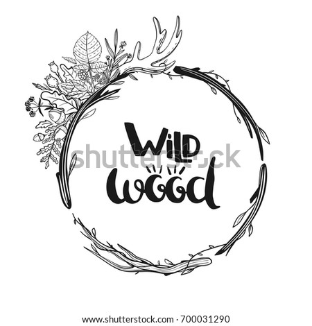 Hand Drawn Rustic Wreath With Flowers Leaves Berries