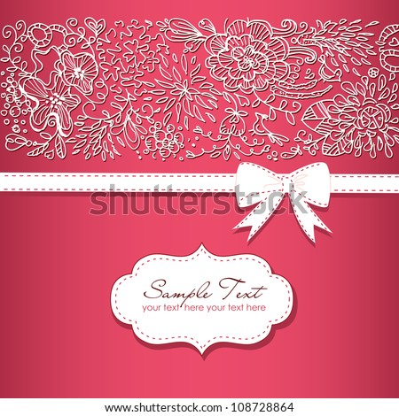Beautiful floral background  and a bow - stock vector