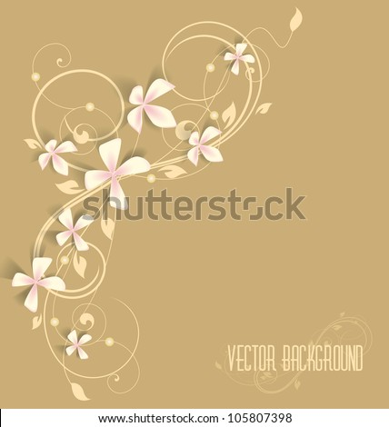 beautiful floral background with pink flowers - stock vector