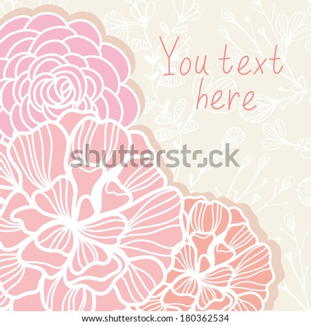 Beautiful  floral background with roses. Vintage stylish cute design invitation with place for text.