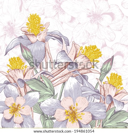Beautiful Floral Background with White Blooming Flowers - stock vector