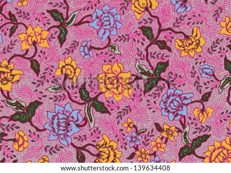 Beautiful floral batik patterns - stock vector