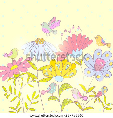 beautiful floral card with cute and funny cartoon birds - stock vector