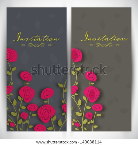 Beautiful floral decorated wedding invitation cards. - stock vector