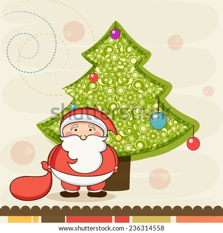 Beautiful floral design and colorful balls decorated X-mas Tree with cute Santa Claus on stylish background for Merry Christmas celebrations. - stock vector