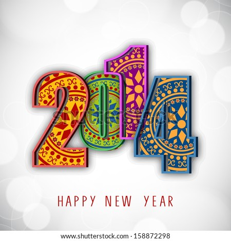 Beautiful floral design decorated, colorful 2014 text on shiny grey background for Happy New Year celebration. Can be use as flyer, banner, poster or invitation. - stock vector