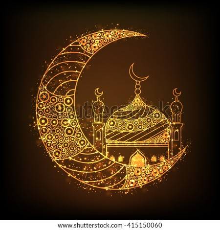 Beautiful floral design decorated, Glowing Golden Crescent Moon with Mosque on brown background for Islamic Festivals celebration. - stock vector