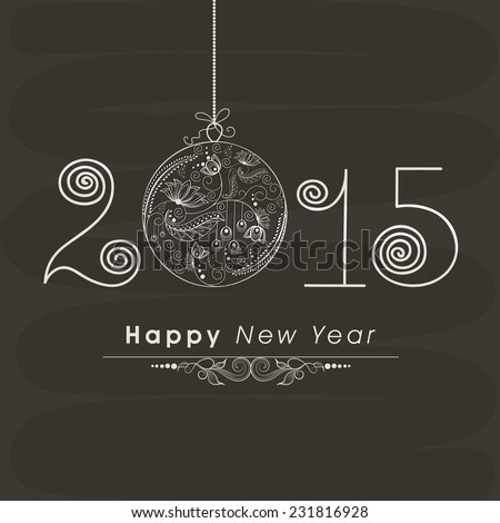 Beautiful floral design decorated hanging X-mas ball with stylish text on dark grey background for Happy New Year celebrations. - stock vector