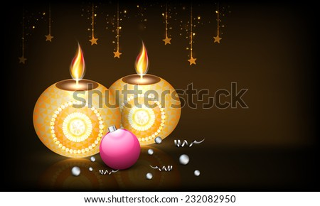 Beautiful floral design decorated illuminated candles with hanging stars and X-mas ball on shiny brown background. - stock vector