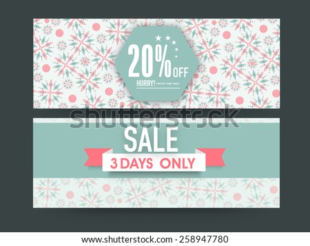Beautiful floral design decorated Sale website header or banner set with discount offer for limited time. - stock vector
