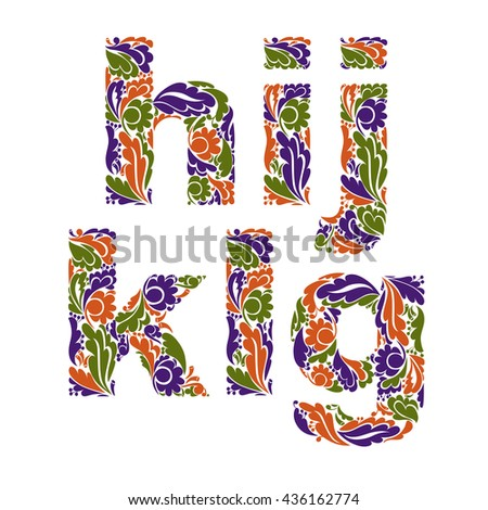Beautiful floral font, decorative letters with vintage pattern. G, h, I, j, k, l. - stock vector