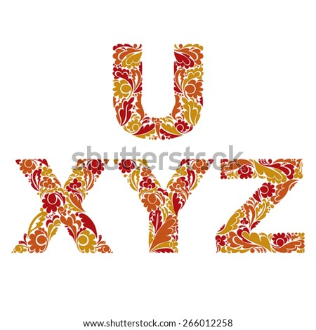 Beautiful floral font, decorative letters with vintage pattern. U, X, Y, Z. - stock vector