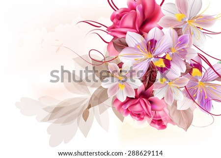 Beautiful floral illustration design with purple hyacinth stylized flowers and roses - stock vector
