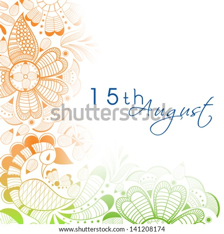 Beautiful floral in national flag colors with text 15th August for Indian Independence Day. - stock vector