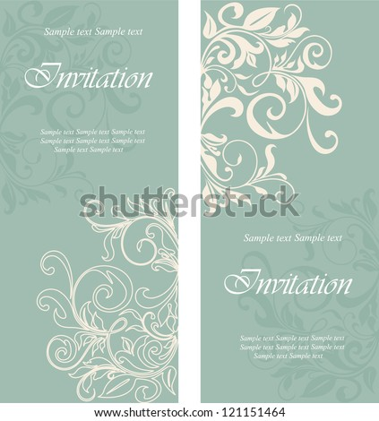 Beautiful floral invitation cards - stock vector