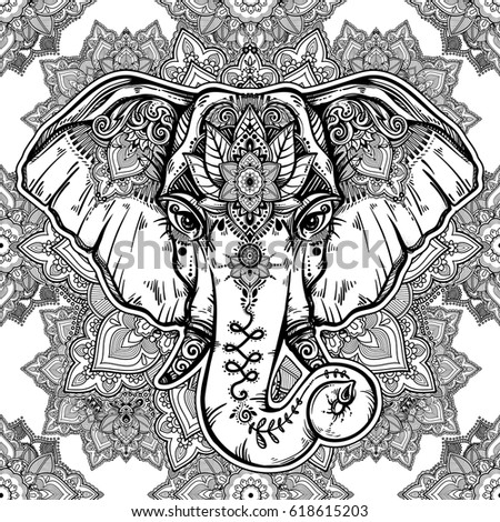 Hindu elephant stock images royalty free images vectors for Paisley elephant coloring pages