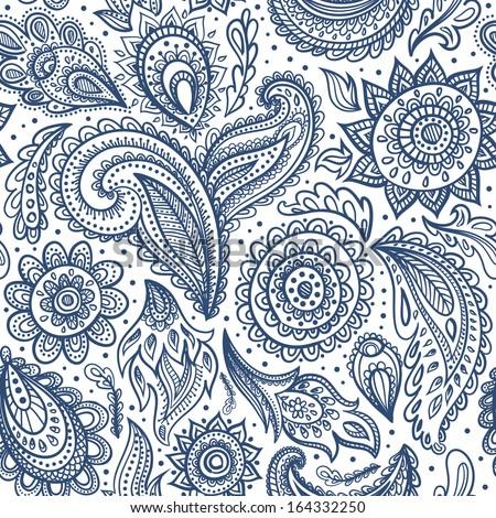 Beautiful floral paisley seamless  - stock vector