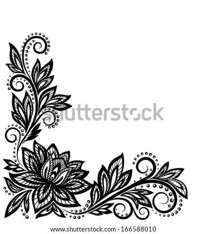 hand drawn henna mehndi border designs with flowers and vines doodle ...