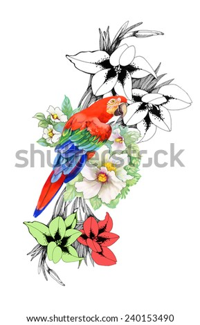Beautiful floral pattern on white background. Parrot, tropical flowers and plants, vector illustration