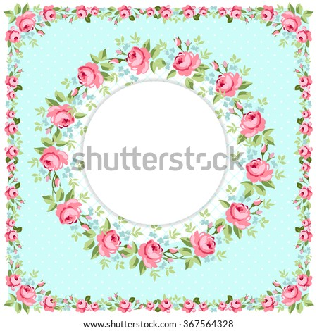 Beautiful floral round Greeting card with littlel pink roses - stock vector