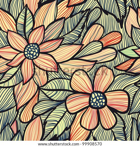Beautiful floral seamless pattern - stock vector