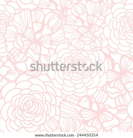 Beautiful floral seamless pattern. Bright illustration, can be used for creating card, invitation card for wedding,wallpaper and textile.  - stock vector