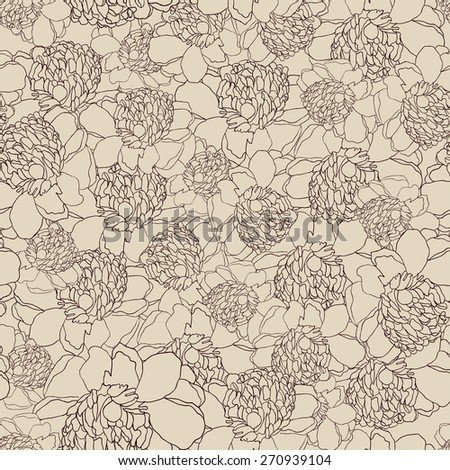 Beautiful floral seamless pattern peonies. Bright illustration, can be used for creating card, invitation card for wedding,wallpaper and textile. eps 10 - stock vector