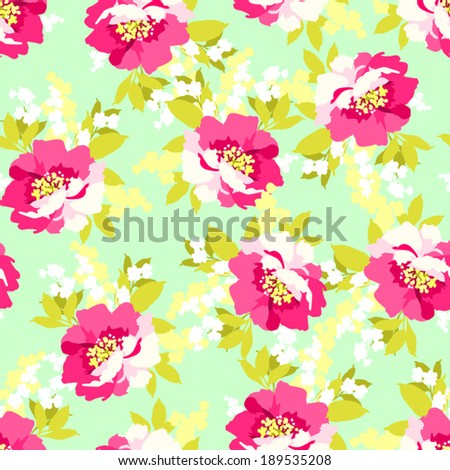 Beautiful floral seamless pattern with Beautiful Pink Flowers wild rose - stock vector