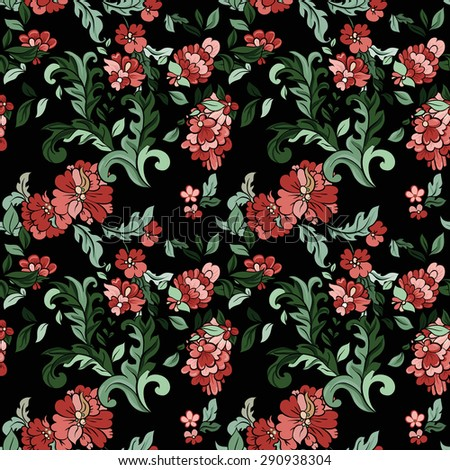 Beautiful  floral seamless pattern with black backdrop. Vector background.  Flowers and leaves. - stock vector