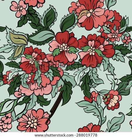 Beautiful  floral seamless pattern with mint backdrop. Vector background.  Flowers and leaves. - stock vector