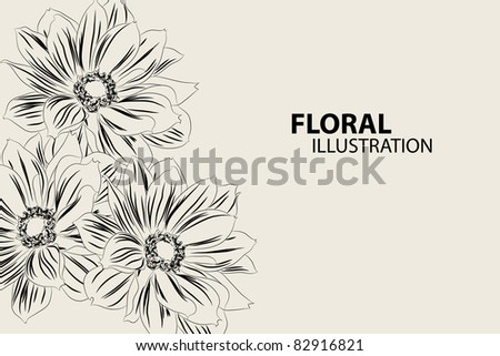 Beautiful floral vector illustration on gray background - stock vector