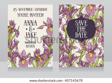Beautiful floral wedding cards with irises flowers, vector illustration - stock vector