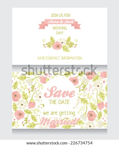 beautiful floral wedding invitation, save the date card, vector illustration